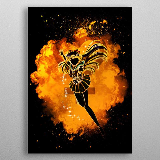 Black silhouette with Venus lights metal poster