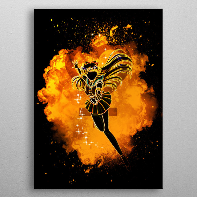 Black silhouette with Venus lights metal poster