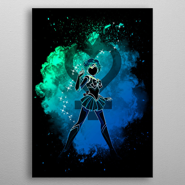 Black silhouette with Mercury lights metal poster