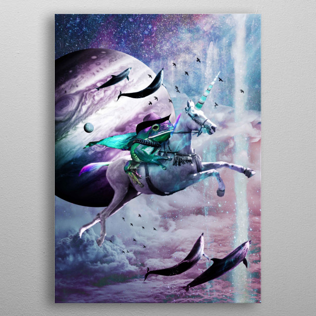 Pick up this epic funny space frog riding a unicorn design.  metal poster