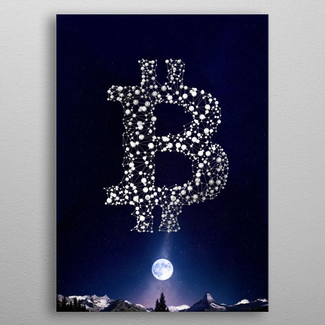 Landscape with a beautiful night sky, stars, the moon and the bitcoin logo. Very high quality, many details, original pic in 300DPI, 64x90cm metal poster