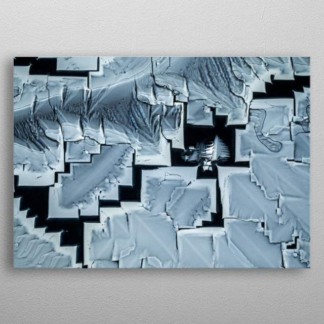 Polarized light photomicrograph of crystals grown from melted Urea metal poster