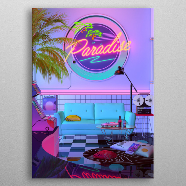 80's Aesthetic Nostalgia, A Retro Design That inspired by synthwave , retrowave and vaporwave style. Dreamlike Artwork by dennybusyet metal poster