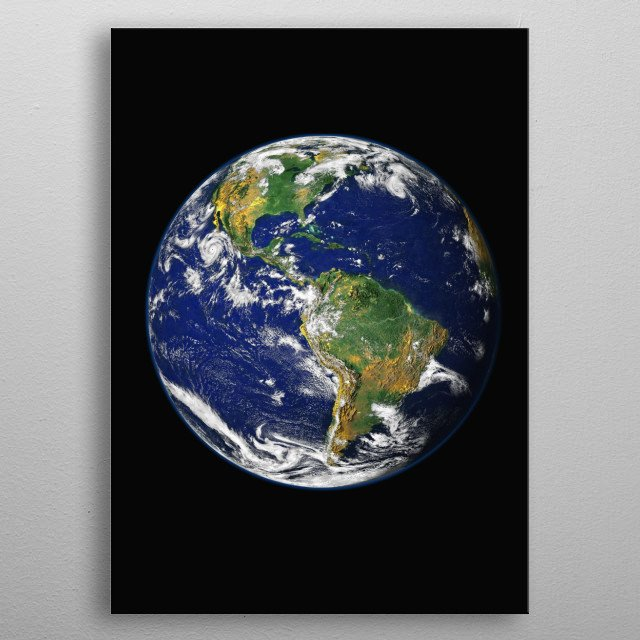Earth, our home, is the third planet from the sun. It's the only planet known to have an atmosphere containing free oxygen and life. metal poster