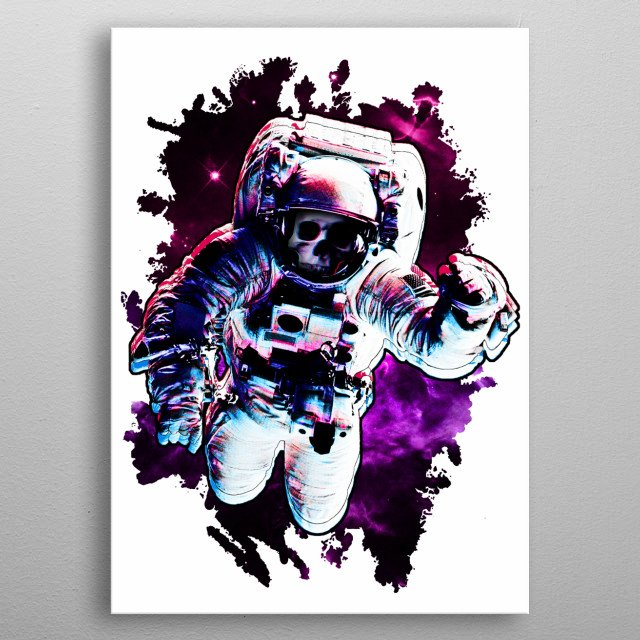 Illustration of an undead different dimension astronaut breaking through. metal poster