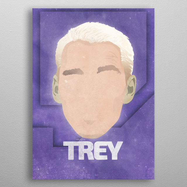 Minimalist face artwork of live streamer Let's Play Trey. metal poster