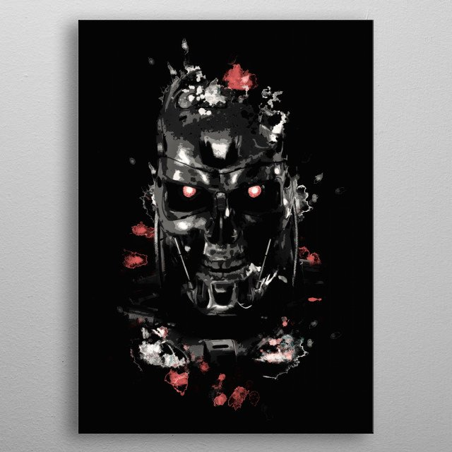 Dark Terminator portrait with splatter and oil painting effect. metal poster