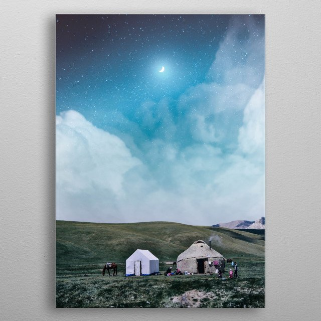 Camping under the moon metal poster