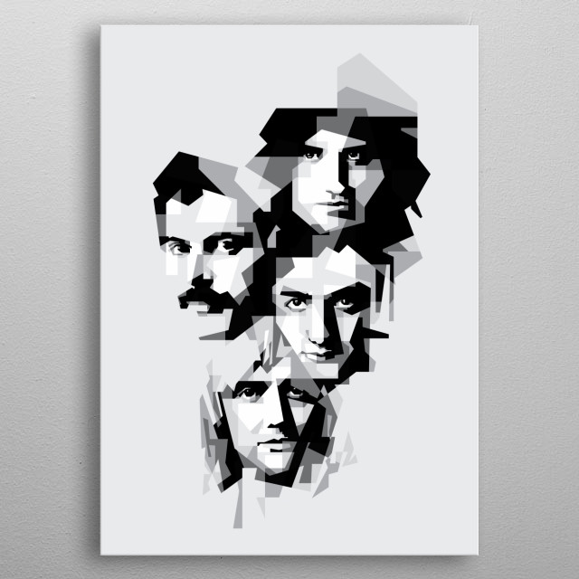 Queen are a British rock band formed in London in 1970. Their classic line-up was Freddie Mercury , Brian May, Roger Taylor, and John Deacon metal poster