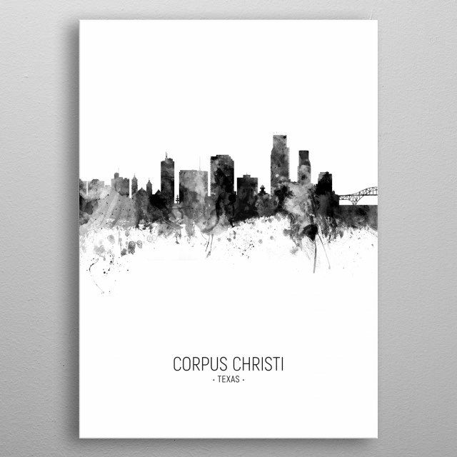 Watercolor art print of the skyline of Corpus Christi, Texas, United States metal poster