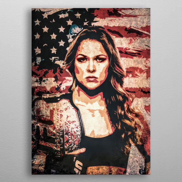 Fighter Ronda Jean Rousey (Rowdy) cartoon/pop art portrait with flag of the USA. metal poster