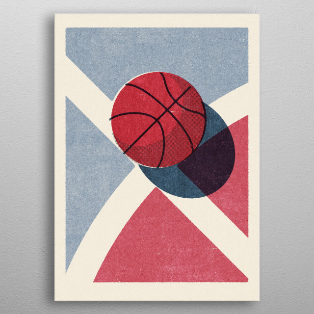 Retro illustration of a basketball. Part of a series of balls of various ball sports. Inspired by vintage matchbox label designs. metal poster