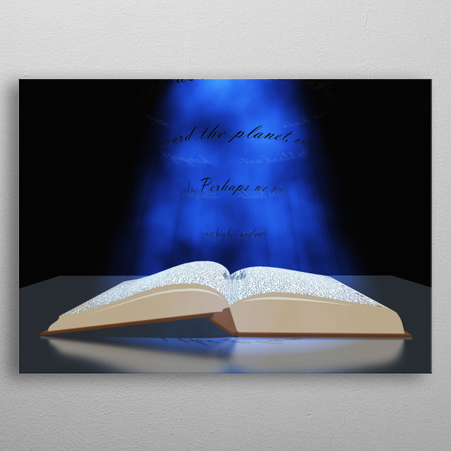 Book with floating text and light metal poster