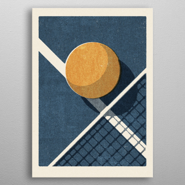 Retro illustration of a table tennis ball. Part of a series of balls of various ball sports. Inspired by vintage matchbox label designs. metal poster