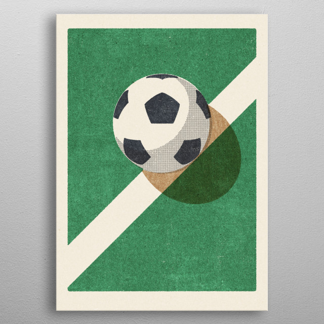 Retro illustration of a football. Part of a series of balls of various ball sports. The style is inspired by vintage matchbox labels. metal poster