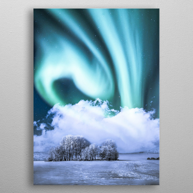 Green aurora in the winter metal poster