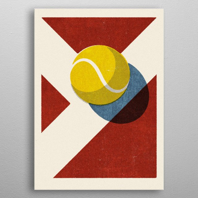 Retro illustration of a tennis ball on a clay court. Part of a series. The graphic style is inspired by vintage matchbox label designs. metal poster