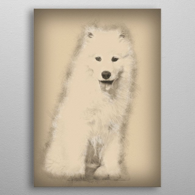 Samoyed Puppy Sitting Agai By Noahs Ark Metal Posters Displate