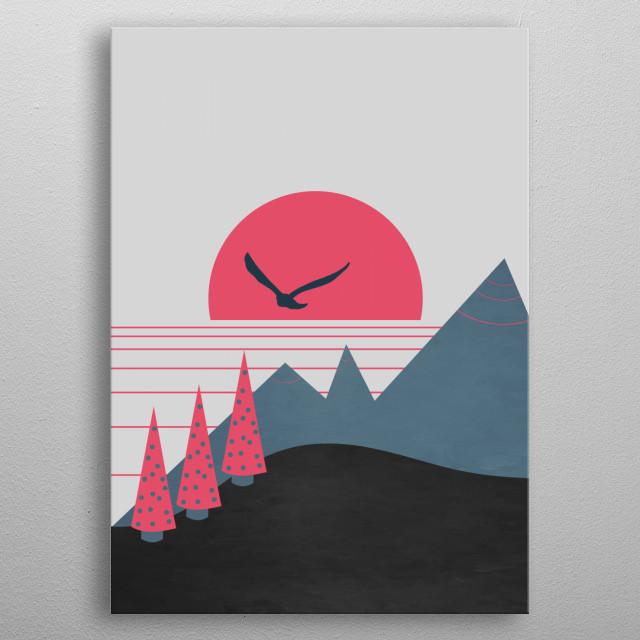 Minimal landscape metal poster