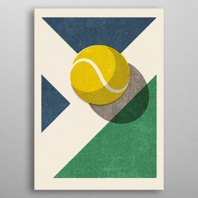 Retro illustration of a tennis ball. Part of a series of balls of various ball sports. Inspired by vintage matchbox label designs.  metal poster