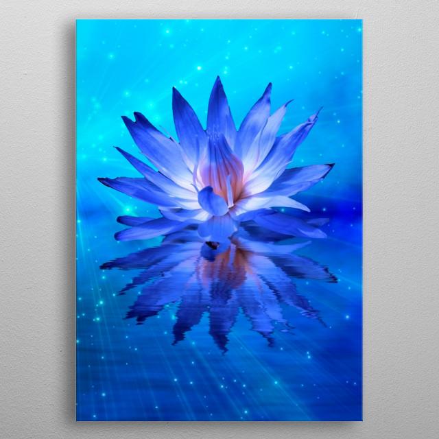 Beautiful lotus flower in blue colors metal poster