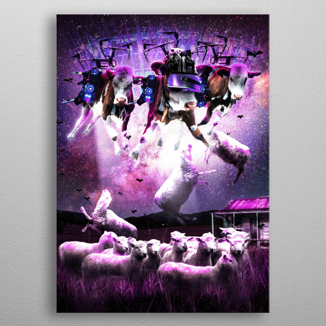 Pick up this funny cow abduction design featuring a cows ufo abducting sheep.  metal poster