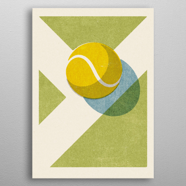 Retro illustration of a tennis ball on a grass court. Part of a series of balls of various ball sports. Inspired by vintage matchbox labels. metal poster
