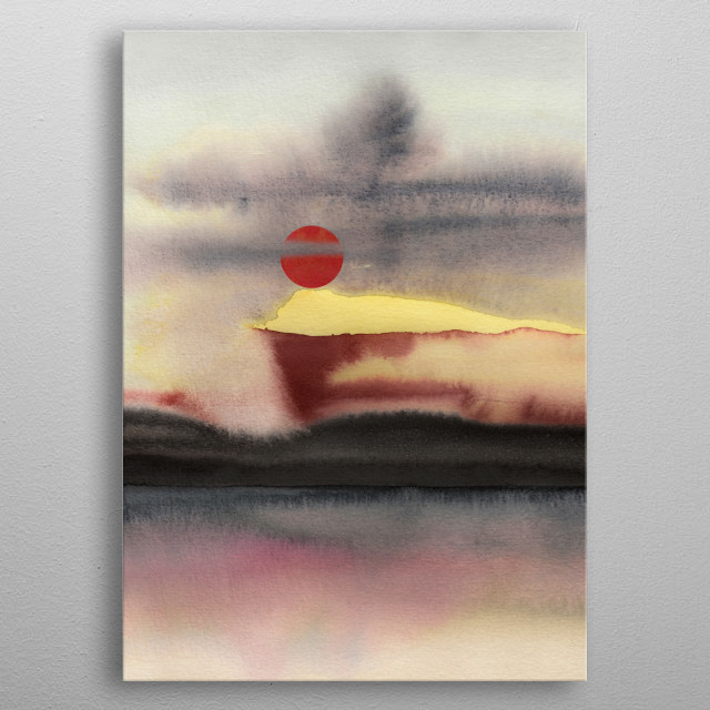 Watercolor abstract landscape metal poster