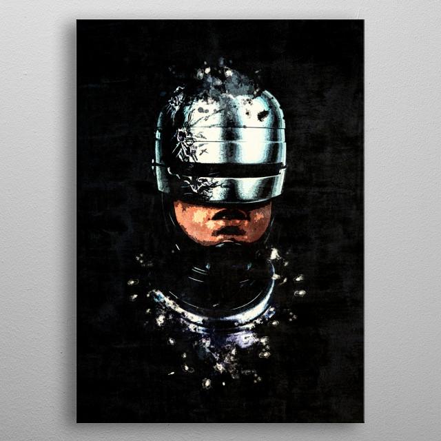 Dark Robocop portrait with splatter painting effect.  metal poster