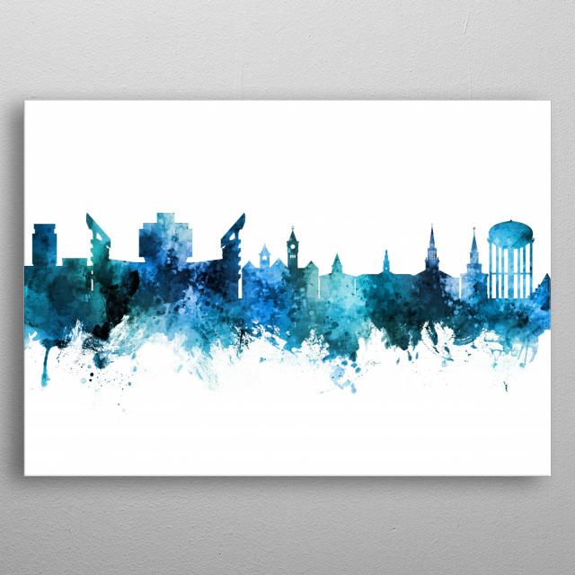 Auburn Alabama Skyline by Michael Tompsett | metal posters