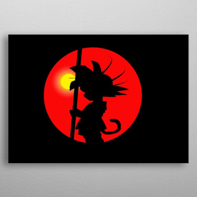 Goku Sunset with the background of the sun in the afternoon metal poster