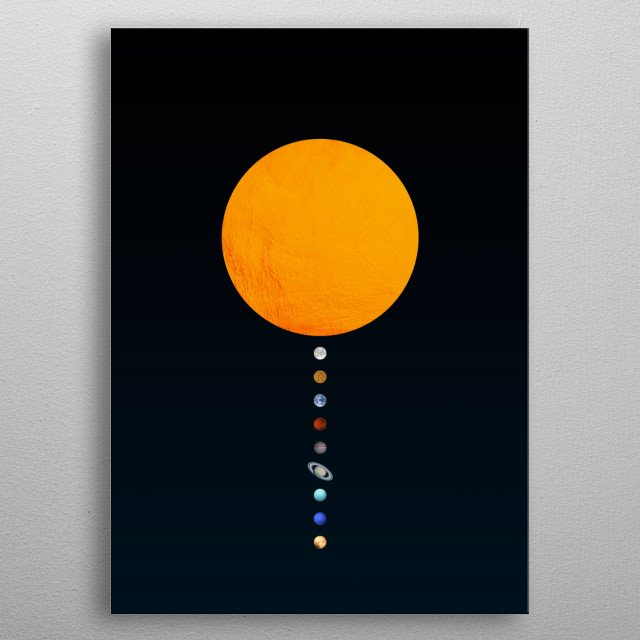 Solar system modern minimalistic photo collage. metal poster