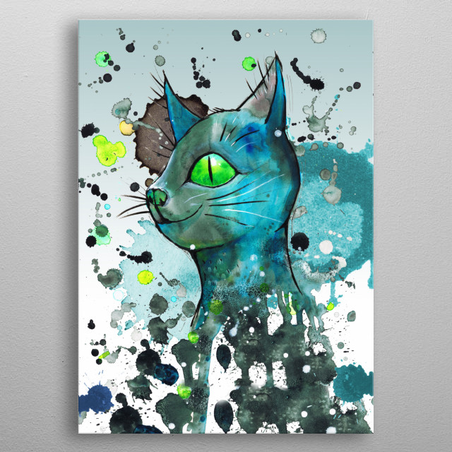A wild watercolor of a blue cat with green eyes. Grunge style with drippings.  metal poster