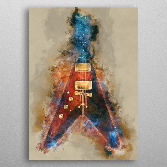 Albert King's guitar. Hand painted digital music poster caricature image with photoshop effects. Best gift for every guitarists, musicians o metal poster
