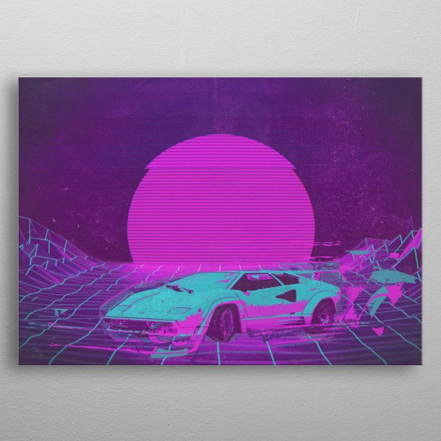 Recent Digital Cyberpunk Car Painting Illustration.  metal poster