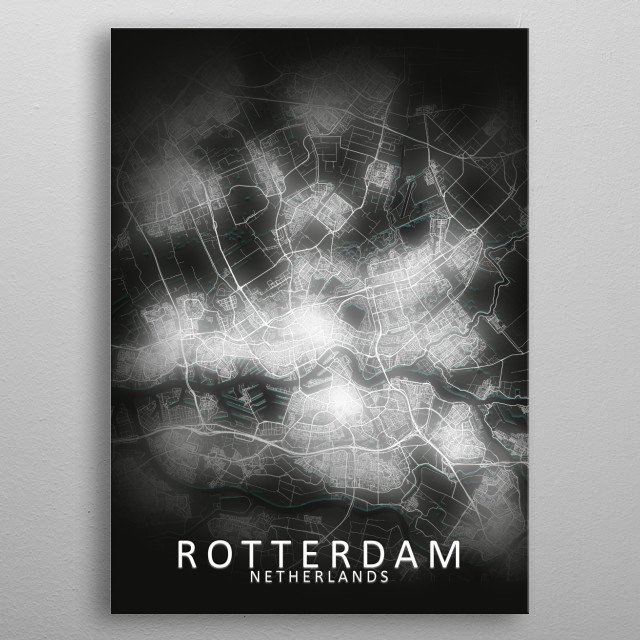 Rotterdam, Netherlands LED Glow City Map metal poster