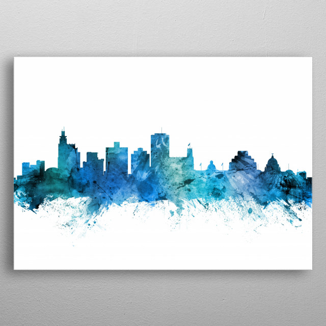 Watercolor art print of the skyline of Jackson, Mississippi, United States metal poster