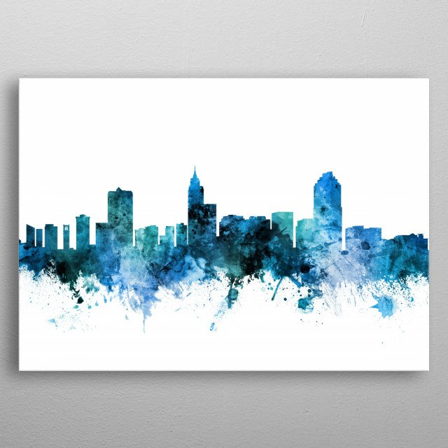 Watercolor art print of the skyline of Raleigh, North Carolina, United States metal poster