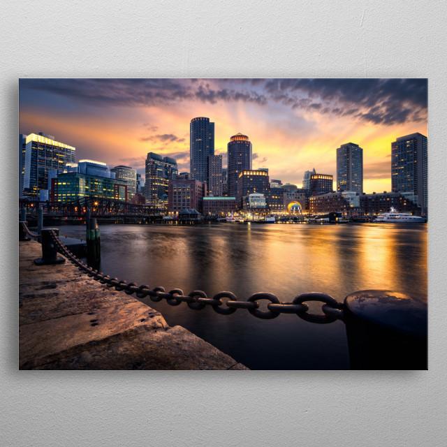 City of Boston at sunset. metal poster