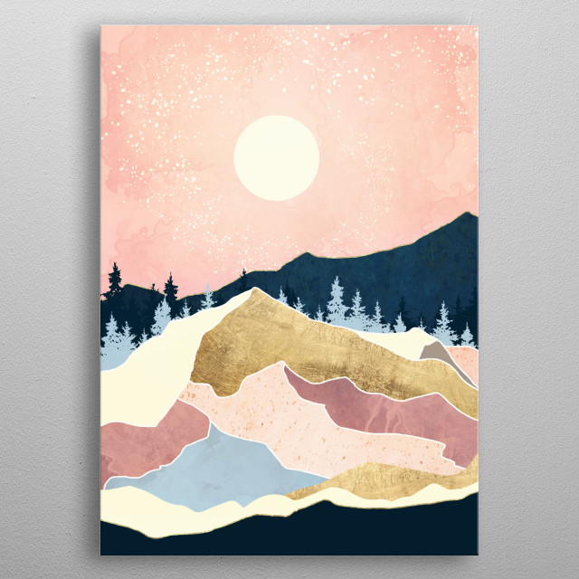 Abstract landscape of a coral sunset with gold, navy and trees metal poster