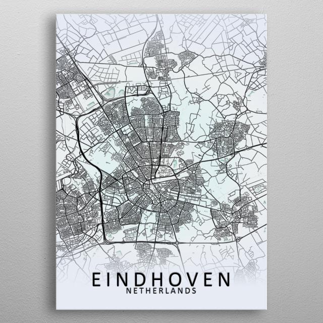 Eindhoven White City Map by City Map Art Prints | metal ...