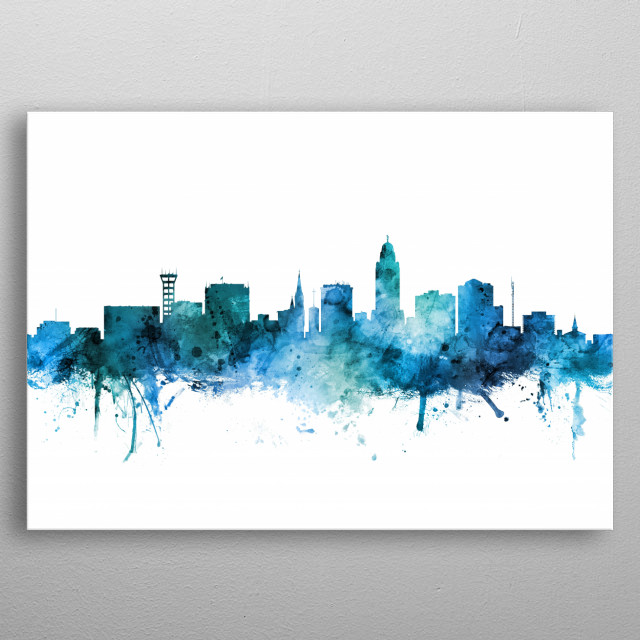 Watercolor art print of the skyline of Lincoln, Nebraska, United States metal poster