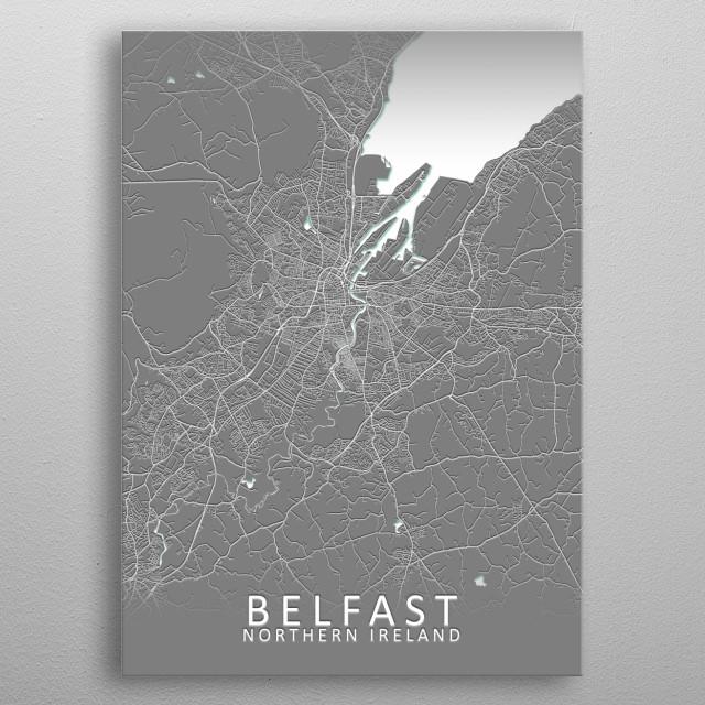 Belfast, Northern Ireland, Grey City Map metal poster