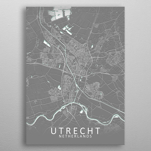 Utrecht, Netherlands Grey City Map metal poster