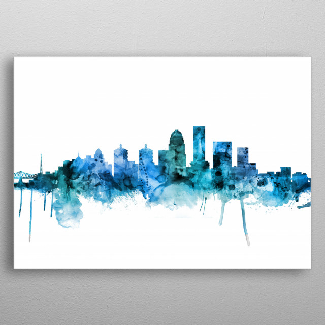 Watercolor art print of the skyline of Louisville, Kentucky, United States metal poster