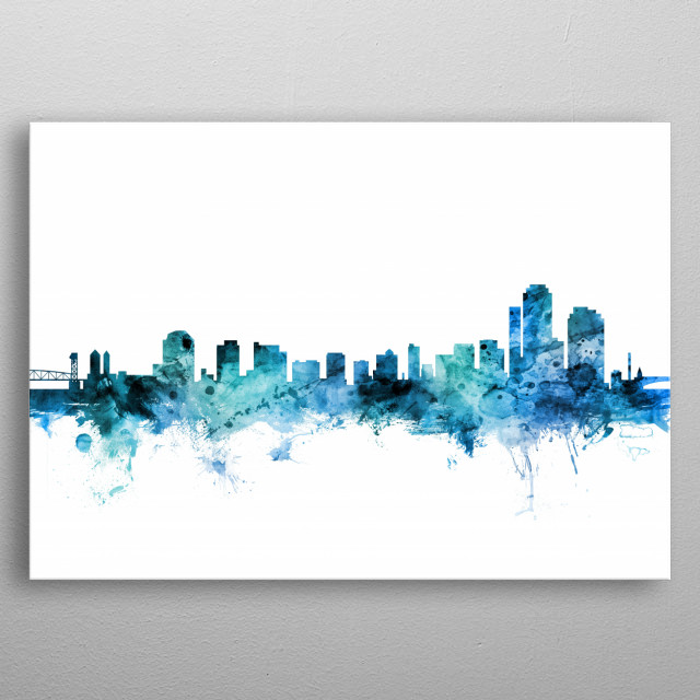 Watercolor art print of the skyline of Wilmington, Delaware, United States metal poster