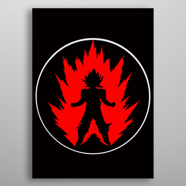 Goku Super Saiyan with a ring circle that protects his body Poster made of metal metal poster