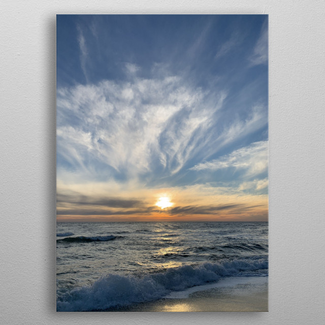 New day, new sunrise. Beautiful orange-blue colors, great sky with these clouds, in harmony with the sea. After the shooting, go to water! metal poster