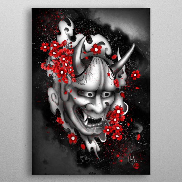 Japanese Hannya Mask and red sakuras metal poster