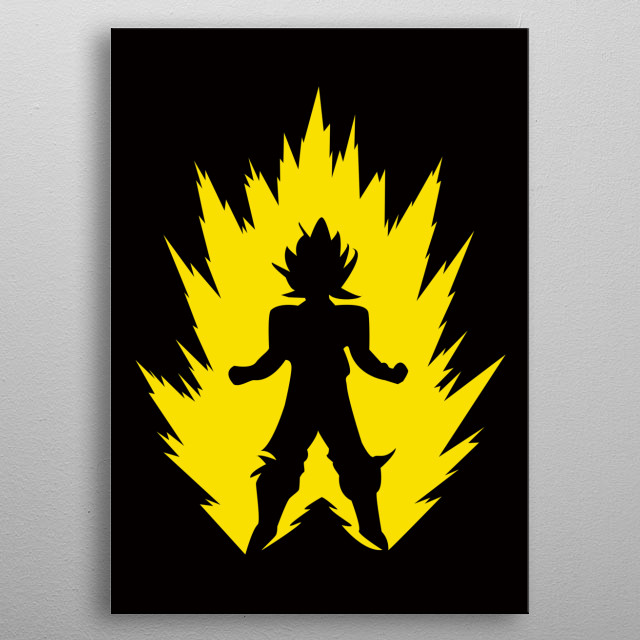 Goku Super Saiyan with yellow Poster made of metal metal poster